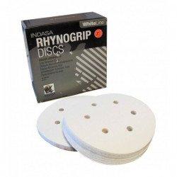 Krążek biały RHYNOGRIP na rzep Indasa 150mm 6otw. P150